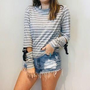 TopShop striped cutout long sleeve top